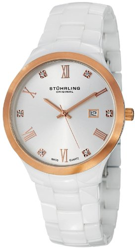 """ステューリング オリジナル 腕時計 レディース 時計 Stuhrling Original Women's 962.12EP29 """"Leisure"""" White Ceramic Watch with Swarovski Crystal Accents ステューリング オリジナル 腕時計 レディース 時計 Stuhrling Original Women's 962.12EP29 Watch"""