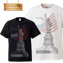 USA アメリカ アメリカ合衆国 america ニューヨーク newyork 星条旗 自由の女神 ロゴ 写真 フォト フォトT Tシャツ プリント デザイン 洋服 t-shirt 白 黒 ホワイト ブラック
