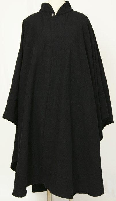 紳士マント U字型デザイン 黒色綿生地 金田一風 着物、作務衣用 和洋兼用 カジュアルメンズアウター 送料無料