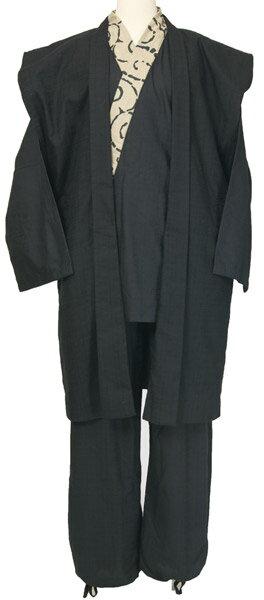 作務衣 紳士 陣羽織と作務衣のセット 黒色/ベージュ柄 M/L/LLサイズ 紬風生地オールシーズン用 メンズ和装さむえ 送料無料