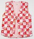 女の子袖なし袢天 ちゃんちゃんこ110cm5-6才用 綿紬 裏キルト 安心の日本製