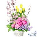 花キューピット【春のお祝い】mx00-511694チューリップと桜のアレンジメント