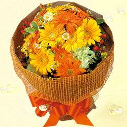 花キューピット誕生日フラワーギフトイエローオレンジガーベラ花束ya00-514004花誕生日お祝い記