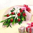 花キューピット【結婚記念日】yb00-521059ユリとバラの花束