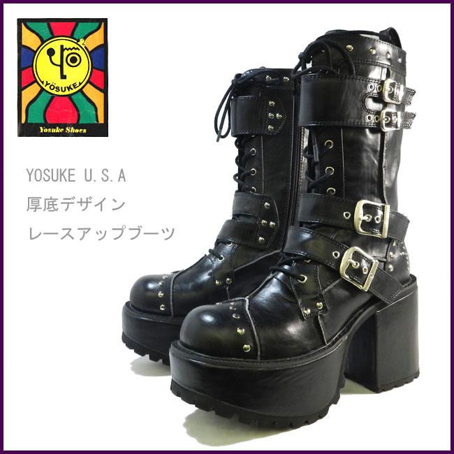 【10%OFFクーポン対象】YOSUKE U.S.A ヨースケスタッズ&ベルトデザインレースアップ 厚底ブーツ 2600491 送料無料 1~3営業日後の出荷です。 靴 レディース YOSUKE U.S.A ヨースケ 厚底ブーツ 2600491 送料無料
