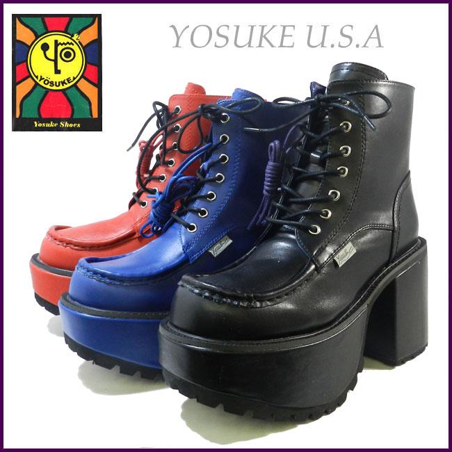 【10%OFFクーポン対象】新作入荷 YOSUKE U.S.A ヨースケ パンク&ロックテイストレースアップ 厚底 ショートブーツ 2609800 送料無料 1~3営業日後の出荷です。 靴 レディース YOSUKE U.S.A (ヨースケ) 厚底ブーツ