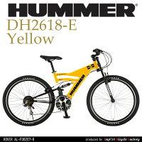 7/13 21時〜7/20 12時59分迄ポイント10倍中!【送料無料】HUMMER(ハマー) シマノ18段変速 軽量アルミフレーム Wサスペンション 26インチ マウンテンバイク HUMMER DH2618-E 0113_flashの画像