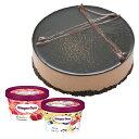【2〜4名用】ホールケーキ(冷凍)ベルギーチョコムースハーゲンダッツ4号バニラ・ストロベリーのミニカップ2個セット送料無料お誕生日プレゼントckb-as
