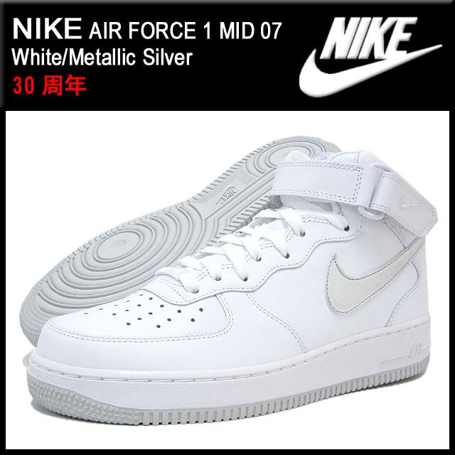 ナイキ NIKE スニーカー エア フォース 1 ミッド 07 White/Metallic Silver メンズ(男性用) (nike AIR FORCE 1 MID 07 30周年 315123-109)
