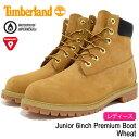 ティンバーランド Timberland ジュニア 6インチ プレミアム ウィートヌバック ブーツ レディース(女性用) (timberland Junior 12909 6inch Premium Boot Wheat イエロー 防水 定番 TIMBERLAND WOMENS timberland) ice filed icefield