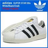 アディダス adidas スニーカー スーパースター 80s White/Black/Chalk ビンテージ オリジナルス メンズ(男性用) (adidas SUPER STAR 80s White/