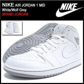 ナイキ NIKE スニーカー メンズ 男性用 エア ジョーダン 1 ミッド White/Wolf Grey(nike AIR JORDAN 1 MID BRAND JORDAN ホワイト 白 SNEAKER MENS・靴 シューズ SHOES 554724-112) 05P03Dec16
