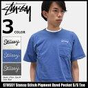 ステューシー STUSSY Tシャツ 半袖 メンズ Stussy Stitch Pigment Dyed Pocket(stussy tee ポケット ティーシャツ T-SHIRTS カットソー トップス メンズ 1944041 ストゥーシー スチューシー) ice filed icefield