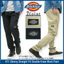ディッキーズ Dickies 811 スキニー ストレート フィット ダブルニー ワークパンツ レングス 32 メンズ 男性用(DICKIES dickies wp811 Skinny Straight Fit Double Knee Work Pant デッキーズ チノパン ボトムス ロングパンツ bottom デッキ−ズ L32)