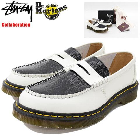 ステューシー STUSSY シューズ メンズ 男性用 ドクターマーチン ペントン ローファー White/Black コラボ(stussy×Dr.Martens Penton Loafer Made in England Shoes 靴 24359101 USAモデル 正規 品 ステューシー×ドクターマーチン)