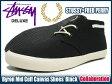 ステューシー STUSSY×FRED PERRY Byron Mid Cuff Canvas シューズ ブラック コラボ デラックス メンズ(男性 紳士用 スチューシー 小物) (stussy×fred perry フレッドペリー Wネーム SB7125 STUSSY×FRED PERRY Byron Mid Cuff Canvas Shoes Black DELUXE スチューシー)