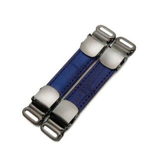航運免費的袖標 & 襯衫吊襪帶,皮革是使用 (鱷魚形按藍色) [環繞自由] [傘店轉讓 7 / 4492n9]