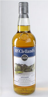 750 ml of McClellan's Spey side single malt whiskey 02P01Sep13