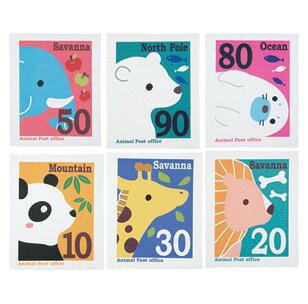 【メール便送料無料】切手みたいなアニマルクリーナークロス6枚セット