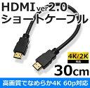 HDMI ver2.0 ショートケーブル 30cm4K/2K 60P 対応ICONSHOP IC-HDMI03HDMI分配 ニンテンドースイッチ PS4 PS3 PS VITATV XboxOne Xbox360 WiiU【RCP】【ポスト投函便対応】