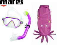 mares(マレス)SEA FRIENDS Purpleシーフレンズ パープル(タコ)【キッズ用】マスク・スノーケル・バッグセット≪あす楽対応≫の画像