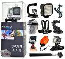 GoPro Hero 4 HERO4 Black CHDHX-401 with Opteka X-Grip + LED Light + Flexible Tripod + Chest Harness + Headstrap + Car Suction Cup + Handgrip Stabilizer + Floaty Strap + Selfie Stick + Wrist Glove