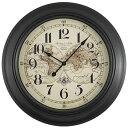 アンティーク風 39.5cm 丸形 地図 マルチカラー アナログ ダイヤル マップ ウオールクロック 時計 掛け時計 壁掛け おうち時間 ステイホーム