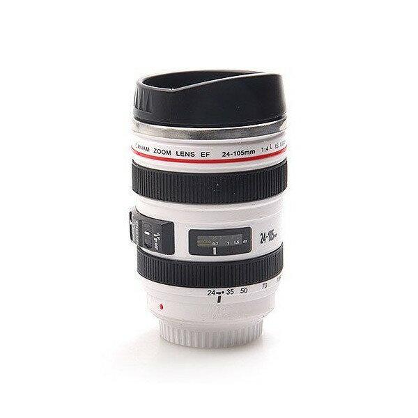 カメラ 一眼レフ 24〜105ミリ レンズ型 保温 ステンレス マグカップ タンブラー ホワイト