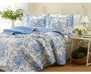 ローラアシュレイ シングル ベッドフォード ベッドキルトセット 青い花のデザイン マルチカバー キルト 寝具 ベッドカバー ピロケース