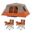 全米で人気あるオザークトレイル (Ozark Trail) のキャンプ用品 テント コールドウエザーチェアー2台付き