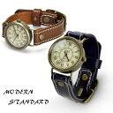 メンズ レディース 腕時計 モダンスタンダード アンティーク 本革レザーベルト 日本製ムーブメント ハンドメイド ヴィンテージ あす楽