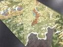 【IDN】 未使用品 じゅらく製 加山又造 金銀糸群鶴に箔散らし 草葉模様織り出し袋帯(未仕立て)【リサイクル】【着】