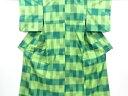 横段に絣柄織り出し手織り紬着物アンサンブル