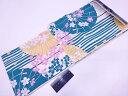 【IDnet】 ブランド浴衣 女性 凪 変わり織 番傘に桜模様浴衣(フリーサイズ)(青緑)【新品】【着】