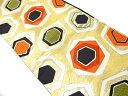 ショッピング重 【IDnet】 変わり重ね亀甲模様織出し袋帯(着用可)【アンティーク】【中古】【着】