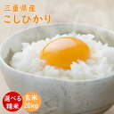こしひかり 令和元年産 三重県産コシヒカリ 玄米20kg(10kg×2袋) |米ぬか無料 精米無料 白米 無洗米 3分づき 5分づき 7分づき 胚芽米|