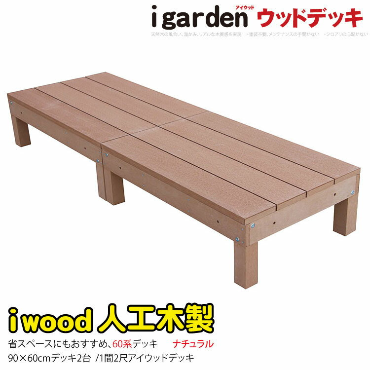 送料無料アイウッドデッキ2点セット60系ナチュラルアイガーデンオリジナル人工木ウッドデッキ木製デッキ