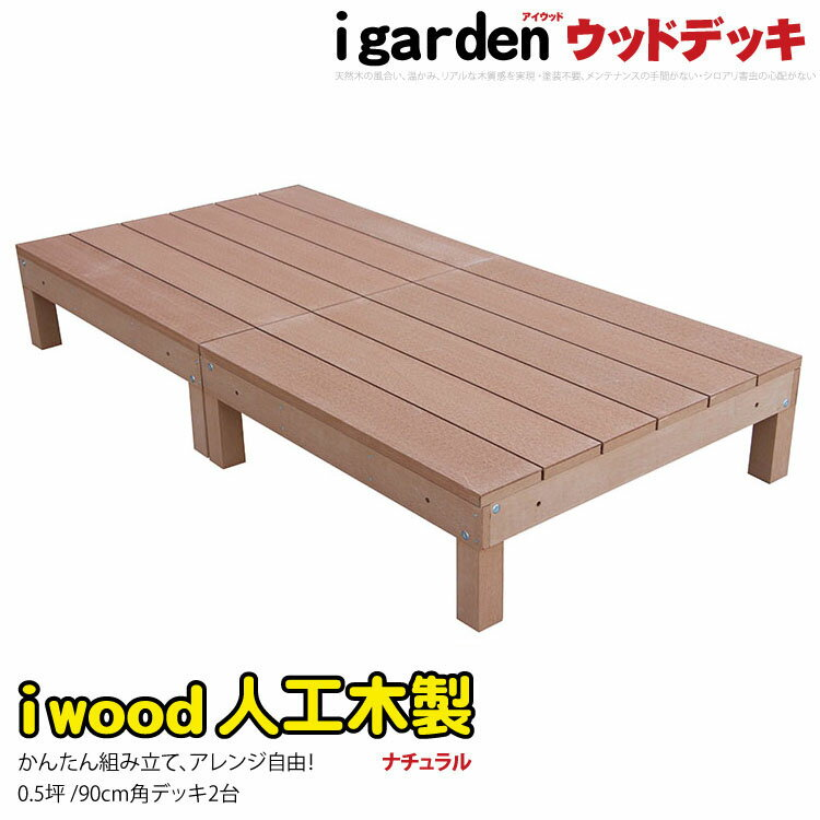 ウッドデッキ アイウッドデッキ 2点セット 0.5坪 ナチュラル 木製デッキ 人工木 樹脂…...:igarden:10000485