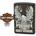【Harley Davidson ハーレー ダビッドソン】 Zippo ハーレー ダビッドソン ジッポー ZIPPO Harley-Davidson HDP-05 ブラックイオンメッキ 片面エッチング シルバーイブシメタル ライター 【在庫あり】【あす楽】【RCP】