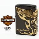 Zippo ハーレー ダビッドソン ジッポー ZIPPO Harley-Davidson HDP-24 ブラックイオン ゴールド ライター 【在庫あり】【RCP】