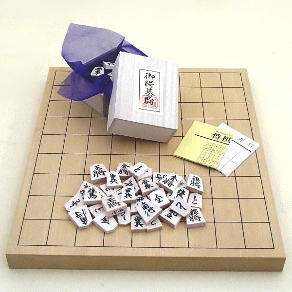 将棋セット 新かや1寸卓上接合将棋盤竹と白椿上彫将棋駒