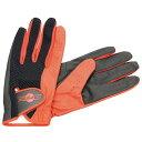 Drummers Glove スティックのグリップ感はそのままに、通気性/耐久性/フィット感を更に向上させたモデル。スティックが当たる部分は耐久性を考え二重構造とし、一方で人差し指の部分はあえて加工を施さず、関節の屈伸性の自由度を上げるよう配慮されている。 カラー:レッド サイズ:L(手首~中指先端:220mm、横幅:約100mm)