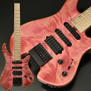 """2019ディバイザー商談会選定品 Bacchus HANDMADE SERIES """"G-STUDIO×HEADLESS""""、バッカスブランドの7弦ヘッドレスギターが入荷!しかもコチラは、エキゾチックウッドを配した限定仕様! コンパクトで弾きやすく仕上げたボディシェイプが特徴のバッカス流ヘッドレスギター。レギュラーモデル「G-STUDIO」を基本としたピックアップレイアウトで、幅広いサウンドメイクが可能です。 ピックアップには「Mojotone Pickup」を採用。SSHピックアップレイアウトで幅広いサウンドメイクが可能です。フロント・センターにはKNOCK OUTを採用し、シングルコイルのクリアな音質を保ちながら、パワーとサスティンと豊かな倍音成分を出力。リアにはBlack Magic Humを採用し、パンチのあるサウンドも出力可能です。 ボディ(トップ):Flame Tochi ボディ:Ash 2P ネック:Maple 指板:Maple ナット:Hipshot ブリッジ:Hipshot/Headless 7string Guitar System フレット:214 ピックアップ:Mojotone/KNOCK OUT7(F,C),Black Magic Hum7(R) コントロール:1Vol,1Tone(coil tap),5way SW スケール:25.5inch ナット幅:49.0mm 指板R:400R フィニッシュ:Top Lacquer ギグバッグ、保証書、レンチ付属 メーカー希望小売価格はメーカーサイトに基づいて掲載しています■ トップ ⇒ 現在地 Bacchus ≪バッカス≫ HANDMADE SERIES G7-HL/EWC-SP'19 エレキギター"""