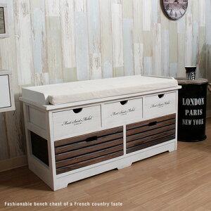 アンティーク ベンチチェスト ベンチ 収納 収納付 木製 天然木 ホワイト 白 北欧 完成品 フレンチ カントリー 引出し 桐 杉 ベ・・・