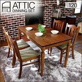 country 厨房套装 120cm 5分(件) ATTIC atikku | dining table组套5件套 4人dining table 古董北欧天然木材栎木材橡树复古 时尚[カントリー ダイニングセット 120cm 5点 ATTIC アティック | ダイニングテーブルセッ