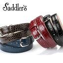 サドラーズ Saddler's / クロコダイル型押しレザーベルト『EG04』(4 colors)ベルト レザー 革 イタリア製 ドレス ビジネス 【ラッピング対応】あす楽対応_
