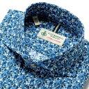 【SALE】ルイジボレッリ ルイジボレリ LUIGI BORRELLI / 製品洗いコットンポプリン花柄プリントホリゾンタルカラーシャツ「NA35(9021)」(ネイビー×グリーン×ホワイト)/ あす楽非対応 イタリア カジュアルシャツ メンズ 綿 花柄