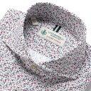 【SALE】ルイジボレッリ ルイジボレリ LUIGI BORRELLI / 製品洗いコットンストレッチポプリン花柄プリントホリゾンタルカラーシャツ「NA35(9024)」(オフホワイト×ワインレッド×ネイビー)/ あす楽非対応 イタリア メンズ