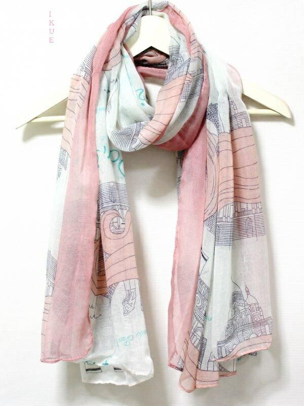 新入荷 送料無料ゆうパケット 女性らしい パリのセーヌ河岸風景・世界遺産柄♪薄手 ストール スカーフ ショール マフラー♪ピンク