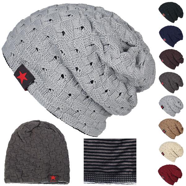 リバーシブル ニットキャップ 穴加工 帽子 ニット帽 チェック柄 ワッチキャップ ビーニー メンズ(男性用) レディース(女性用) 秋 冬 KNIT CAP 4320